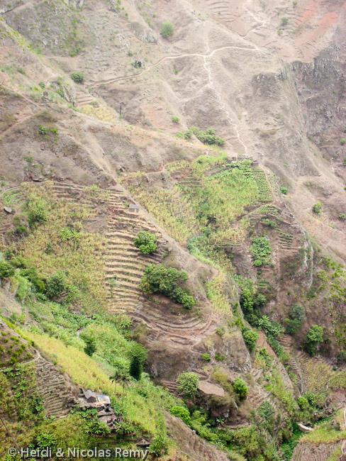 De l'Estrada Corda, on admire les à-pics démentiels de Santo Antão, ainsi que sa verdure si inhabituelle